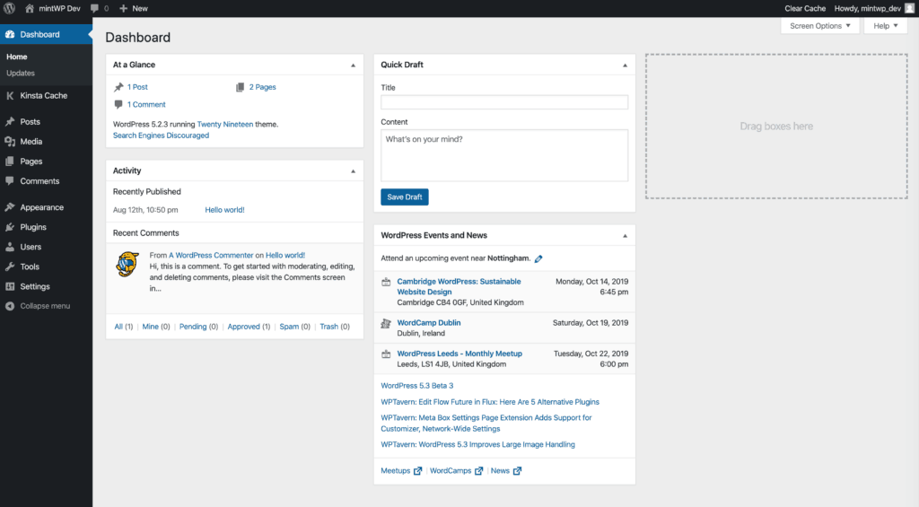 Default WordPress WP-Admin Dashboard