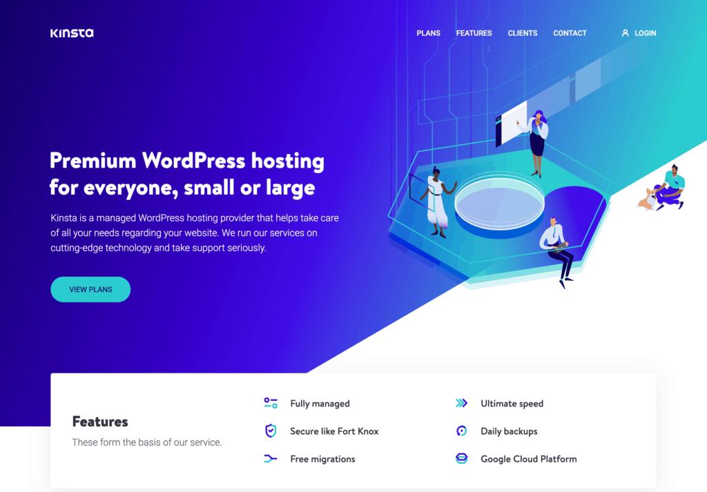 Kinsta Managed WordPress Hosting homepage
