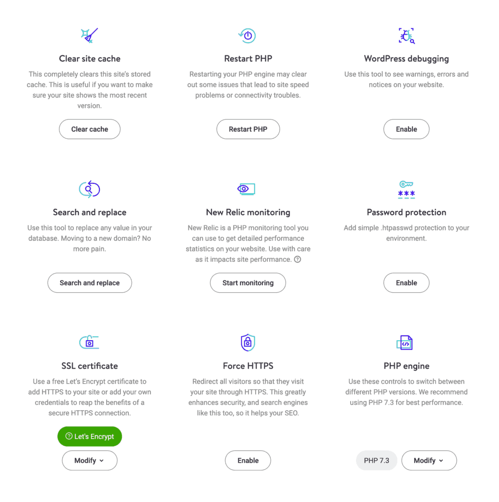 Kinsta individual website dashboard