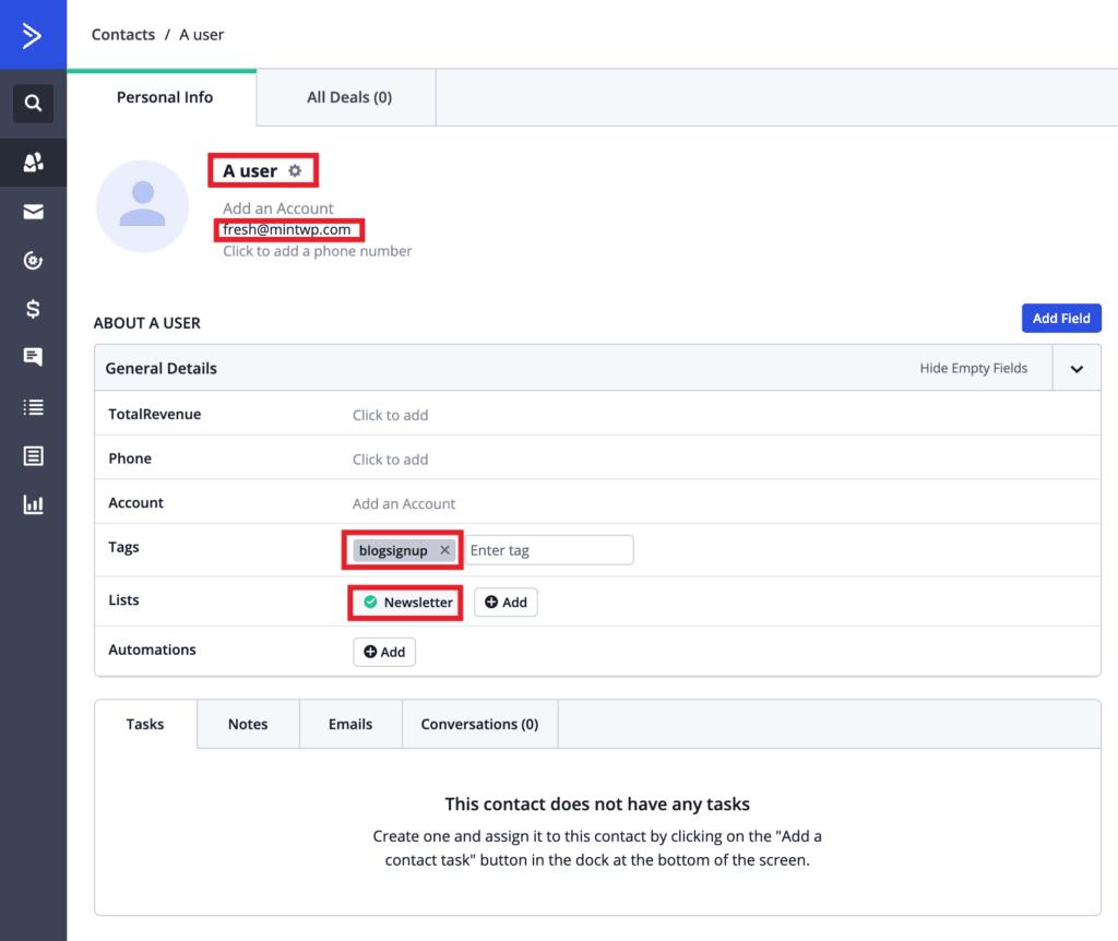 MailOptin - ActiveCampaign user record