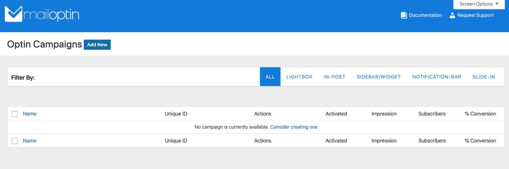 MailOptin Campaigns screen