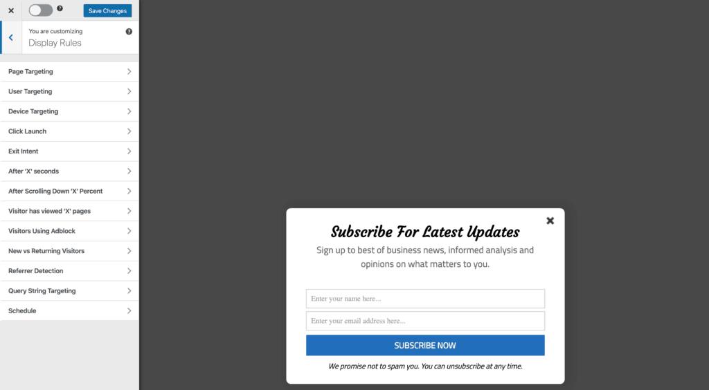 MailOptin Display Rules configuration