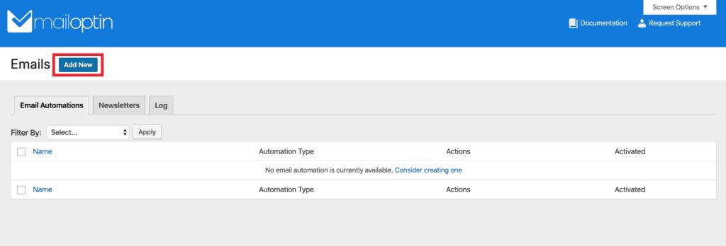 MailOptin Emails dashboard