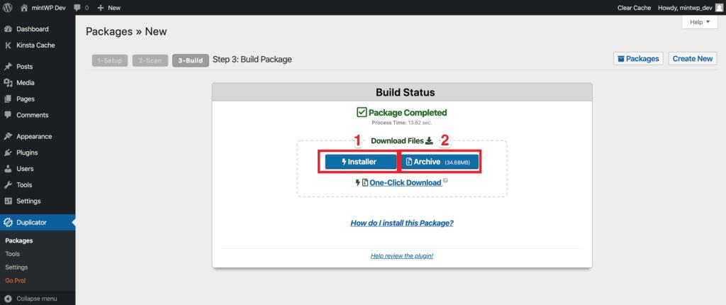 WordPress Blueprint Website - Duplicator Step 4