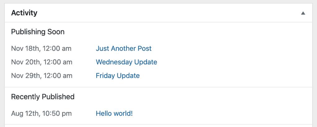 WP Scheduled Post Dashboard Widget