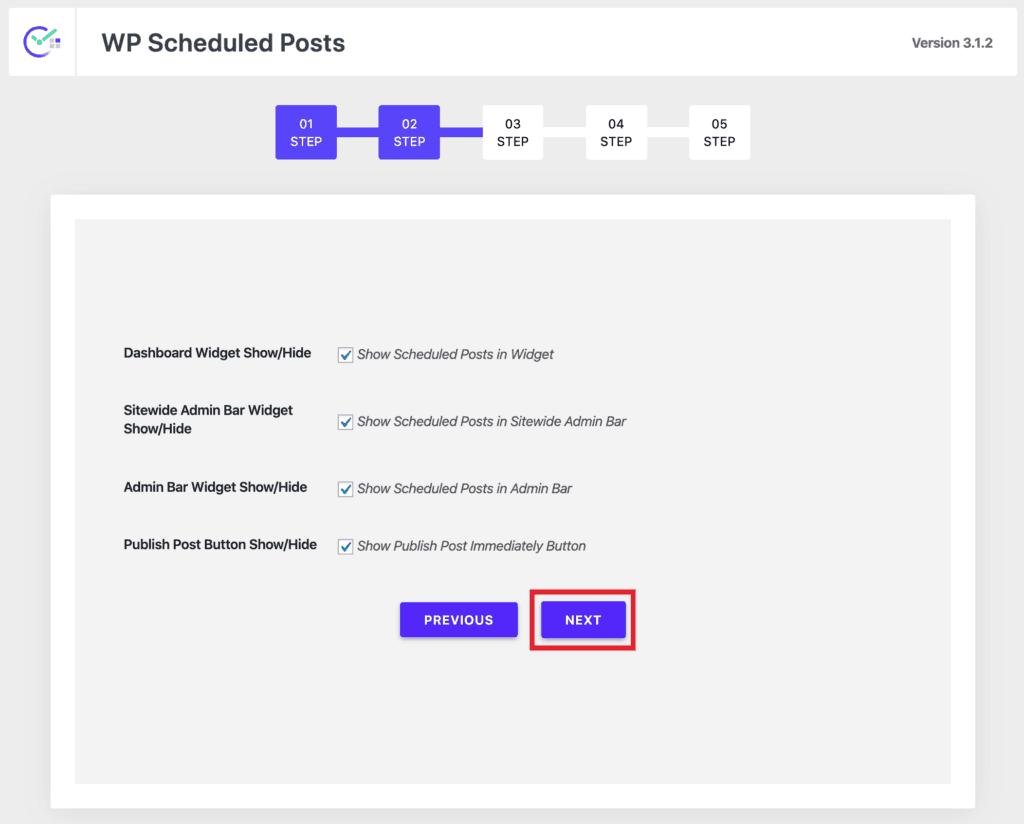 WP Scheduled Posts Wizard - Step 2