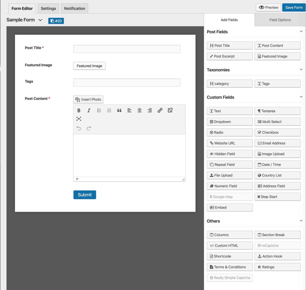WP User Frontend Post Form Builder