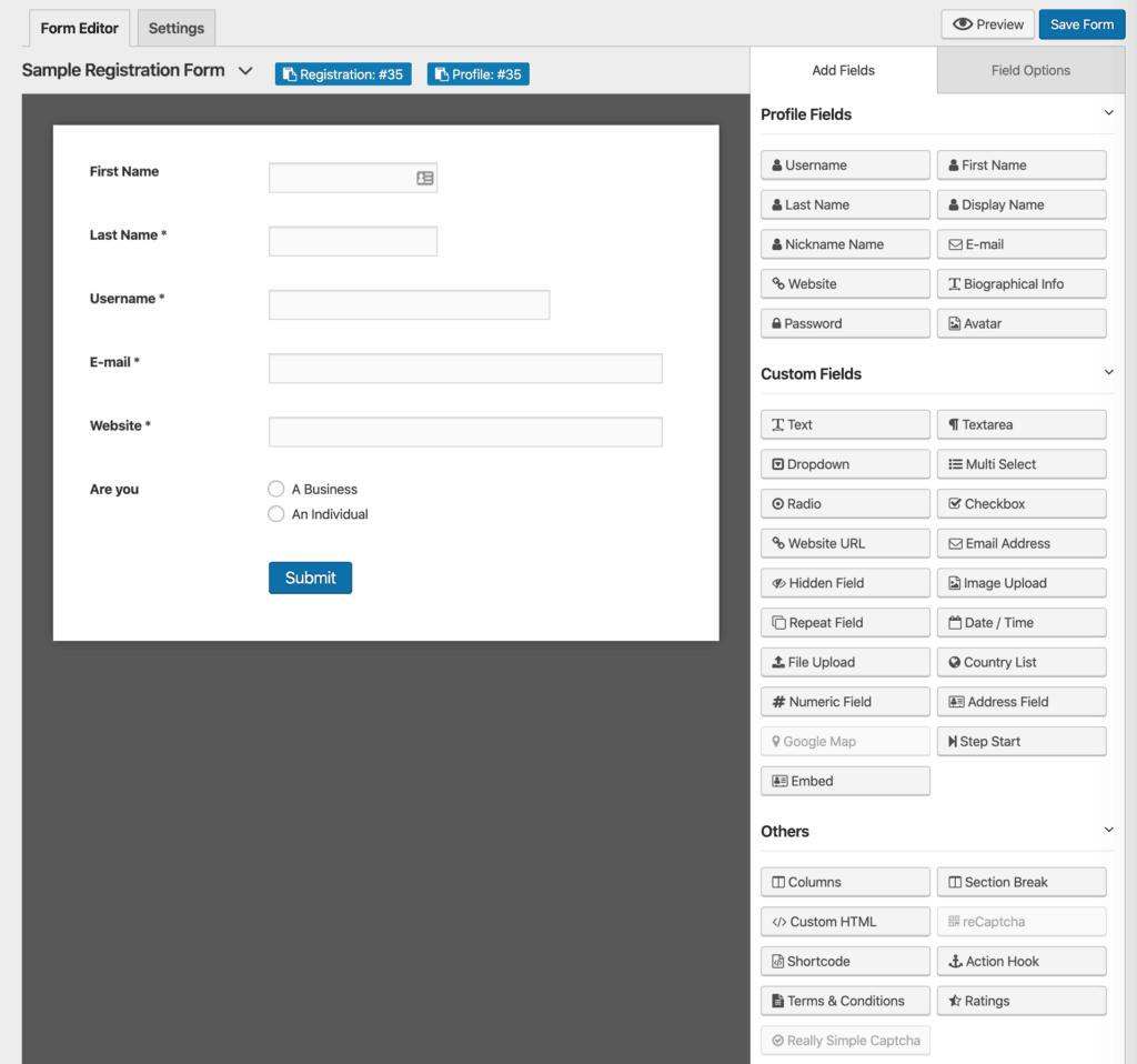 WP User Frontend Pro Registration Form Editor