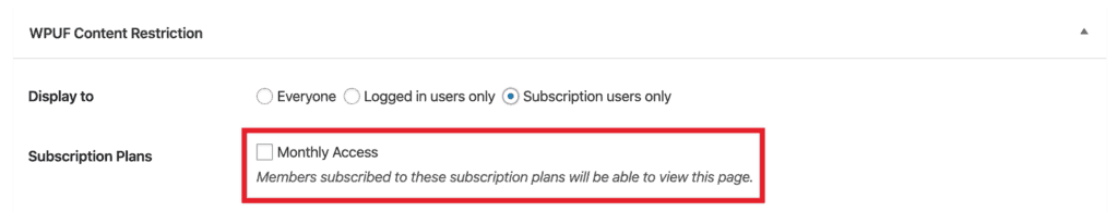 WP User Frontend Pro Content Restriction - Content Plans