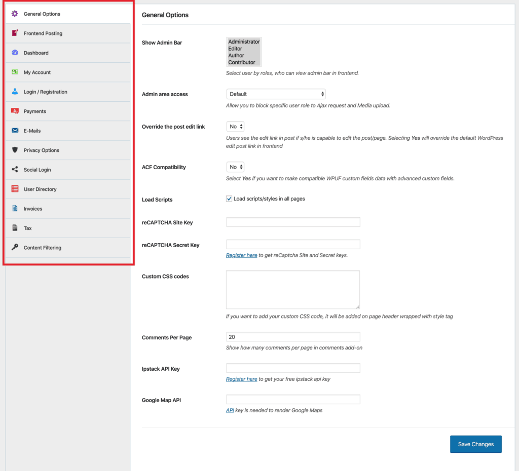 WP User Frontend Pro - Settings
