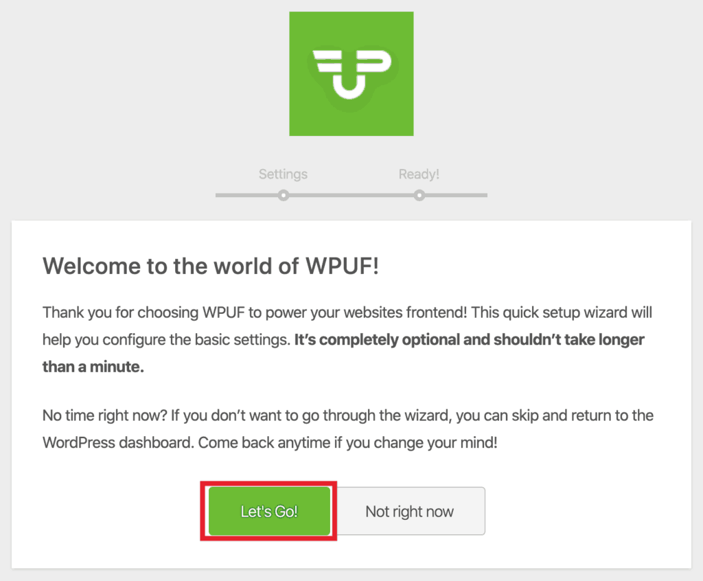 WP User Frontend Pro Wizard - Step 1