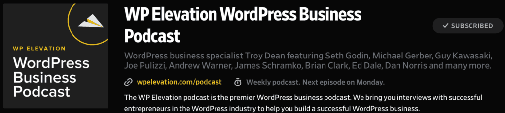 WP Elevation Podcast with Troy Dean and guests